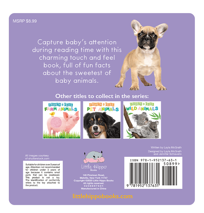 Little Hippo: Touch and Feel Adorable Baby Animals Board Book Children Tactile Learning Real Photography