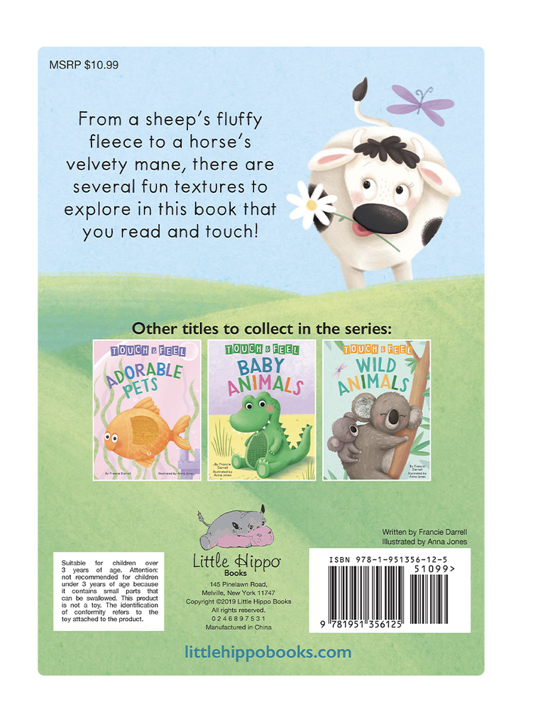 Little Hippo: Touch and Feel Farm Animals Board Book Children Tactile Learning