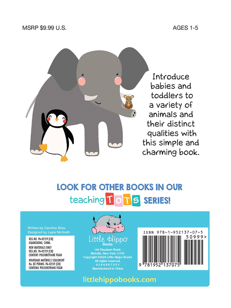 Teaching Tots Little Hippo Books Children's Padded Board Book Bedtime Story family learning animails educational
