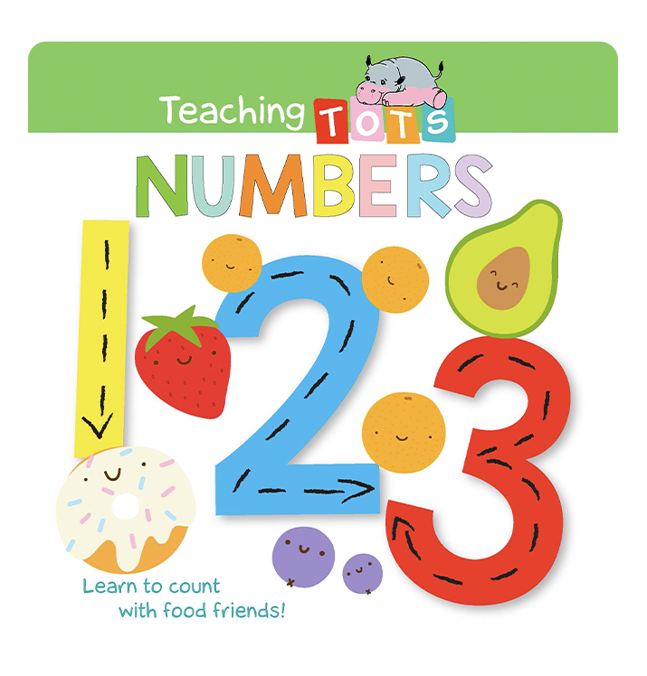 Teaching Tots Numbers Little Hippo Books Children's Padded Board Book Bedtime Story family learning educational counting food