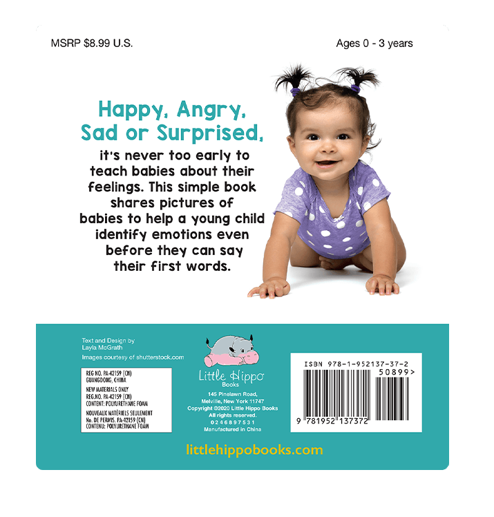 Baby's Feelings Little Hippo Books Children's Padded Board Book bedtime learning emotions faces