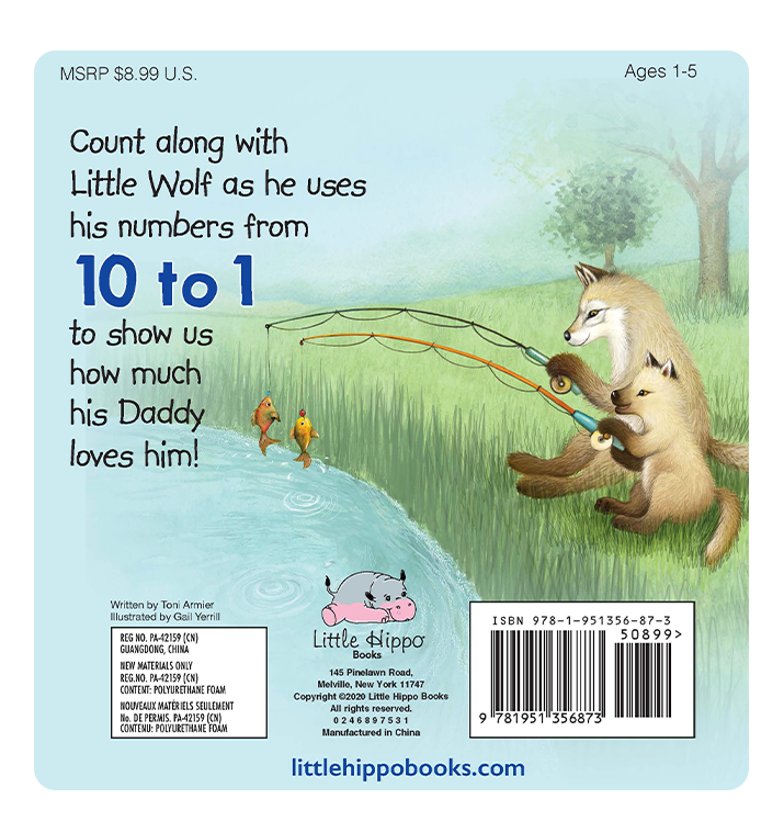 Little Hippo Books Children's Padded Board Book Bedtime Story family dad counting learning wolf
