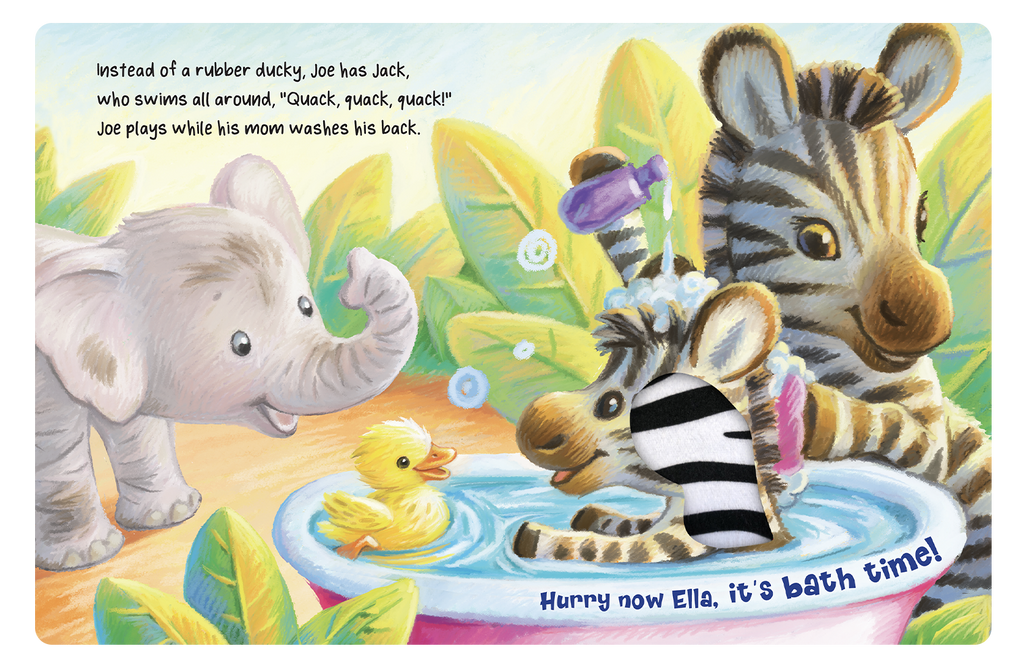 Little Hippo: Touch and Feel Ella's Bath Time Board Book Children Tactile Learning Real Photography bedtime hippo elephant zebra tiger owl bath time
