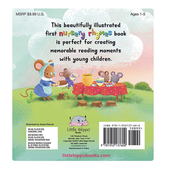 Classic Nursery Rhymes Little Hippo Books Children's Padded Board Book Twinkle, Twinkle Little Star Hey, Diddle, Diddle Hickory, Dickory Dock Mary Had a Little Lamb Humpty Dumpty The Itsy Bitsy Spider Jack and Jill There Was an Old Woman This Little Piggy