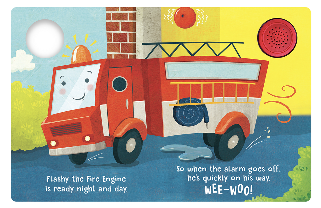 Flashy The Fire Engine - Little Hippo Books Sound Book - Children's Board Book - Interactive Fun Child's Book - Book for Boys or Girls