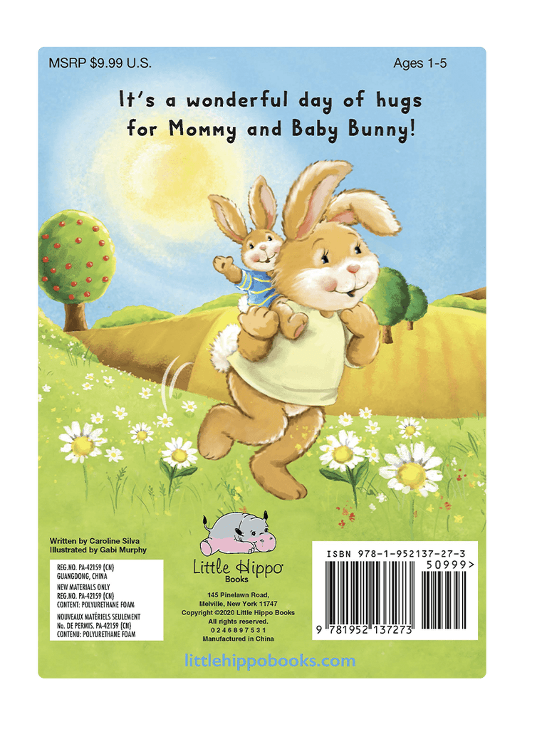 Hug for You Hug for Me  Love Little Hippo Books Children's Padded Board Book Bedtime Story family bunny hug
