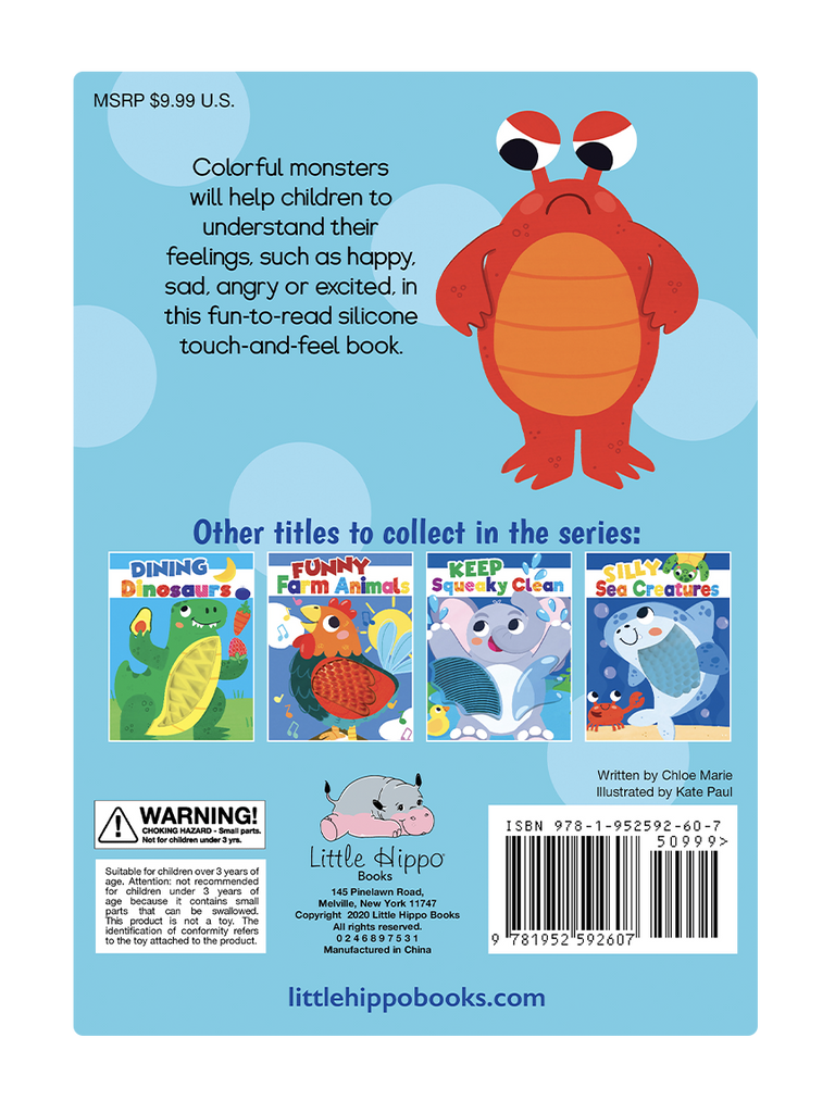 Little Hippo Books Silicone Touch and Feel Moody Monsters