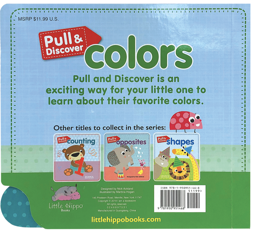 Little Hippo Early Pull Discover Colors Padded Board Book Children Learning