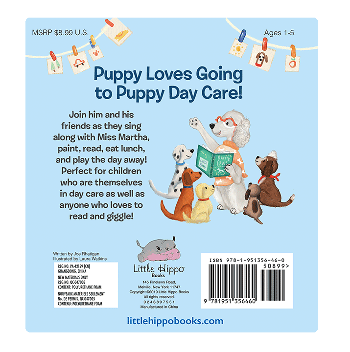 Puppy Day Care Love Little Hippo Books Children's Padded Board Book Bedtime Story family day care