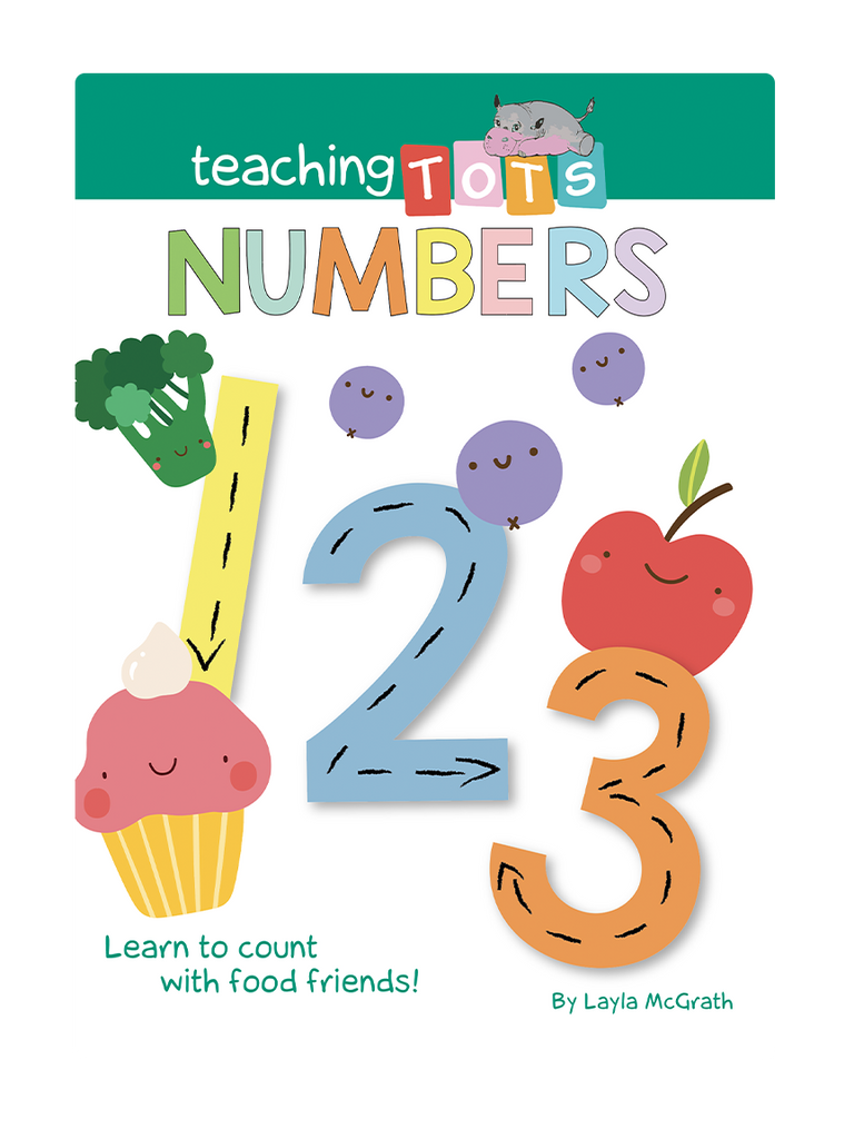 Teaching Tots Numbers Little Hippo Books Children's Padded Board Book Bedtime Story family learning numbers numerals educational