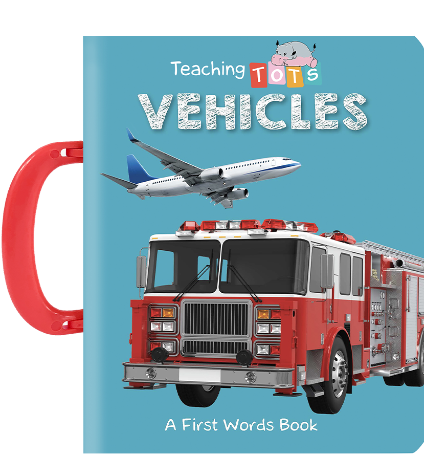 Little Hippo Books carry handle Board Book Children vehicles rocket fire truck learning