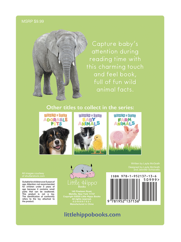 Little Hippo: Touch and Feel Wild Animals Board Book Children Tactile Learning Real Photography koala lion chameleon dolphin elephant