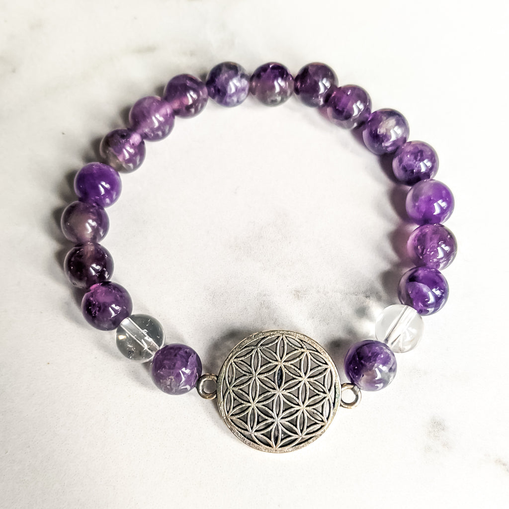 Amethyst / Quartz Flower of Life Bracelet