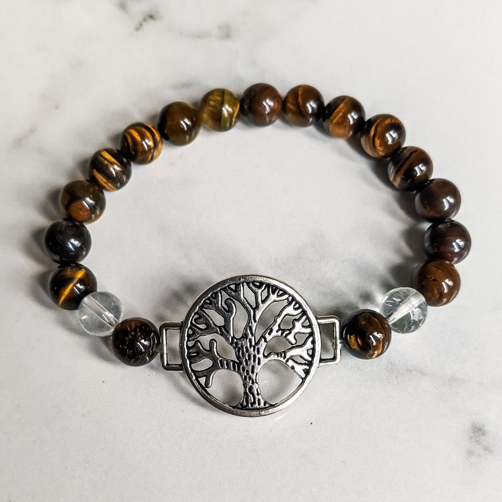 Tigers Eye / Quartz Tree of Life Bracelet
