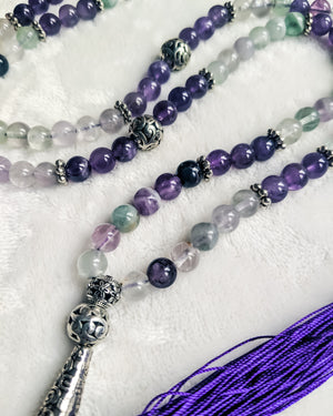 Gemstone Mala Necklace (Amethyst/Fluorite)