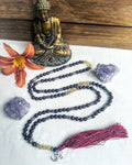 Gemstone Mala Necklace (Garnet/Rutilated Quartz)