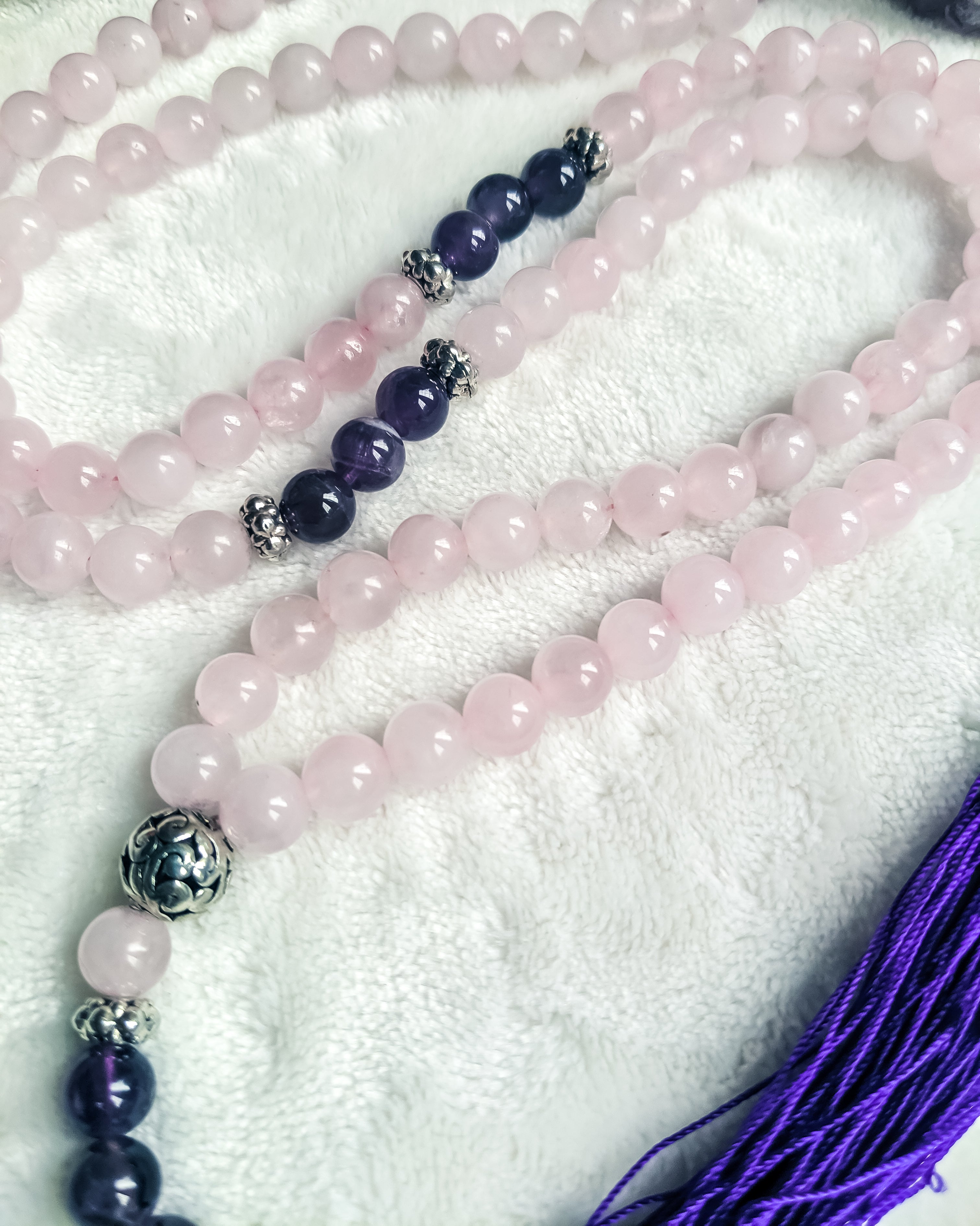 Gemstone Mala Necklace (Rose Quartz/Iolite)