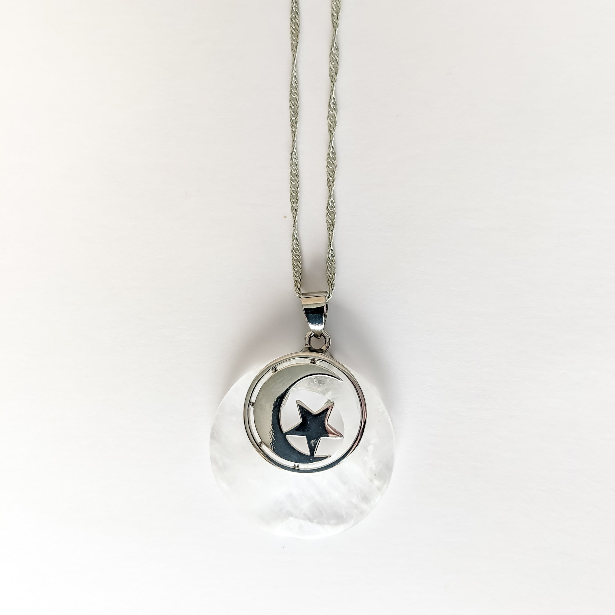 Clear Quartz Crescent Moon Pendant with Sterling Silver Necklace