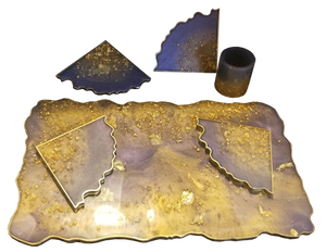 Amethyst Gold Tray Set