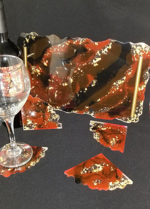Red Black and Gold Tray Set