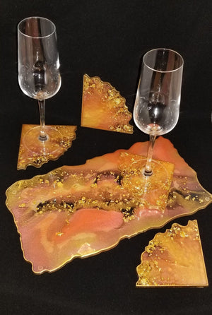 Sunset and Gold Tray Set