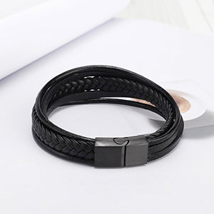 murtoo Leather Bracelet Magnetic-Clasp Cowhide Braided Multi-Layer Wrap Mens Bracelet, 7.5 inch (Black)