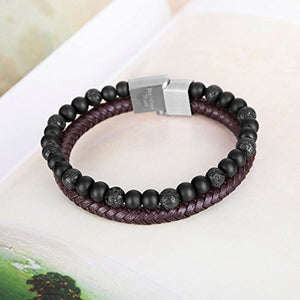 murtoo Essential Oil Bracelet Adjustable Beads Bracelet Lava Rock Stone Bracelet Perfume Diffuser Bracelet, 7''-9'' Gift (Brown Leather)