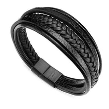 Load image into Gallery viewer, murtoo Leather Bracelet Magnetic-Clasp Cowhide Braided Multi-Layer Wrap Mens Bracelet, 7.5 inch (Black)