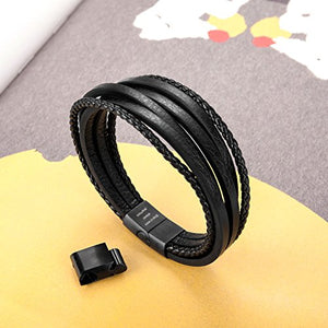 "murtoo Leather Bracelet Magnetic-Clasp Cowhide Braided Multi-Layer Wrap Mens Bracelet, 7.5''-8.7'' (Black New 8.7"")"