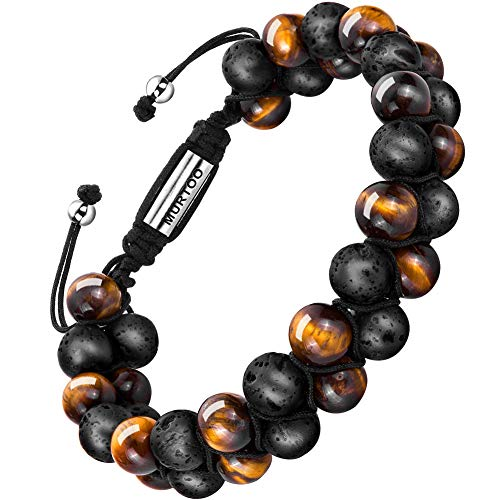 Diffuser Bracelet Adjustable Beads Bracelet Lava Rock Stone Bracelet Perfume, 7''-9'' Gift (Tiger Eye+Lava Rock 8mm)