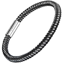 "Load image into Gallery viewer, murtoo Mens Bracelet Stainless Steel - Braided Leather Bracelet for Men with Magnetic Clasp 8.27"" (Black and Silver)"