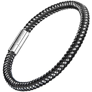 "murtoo Mens Bracelet Stainless Steel - Braided Leather Bracelet for Men with Magnetic Clasp 8.27"" (Black and Silver)"