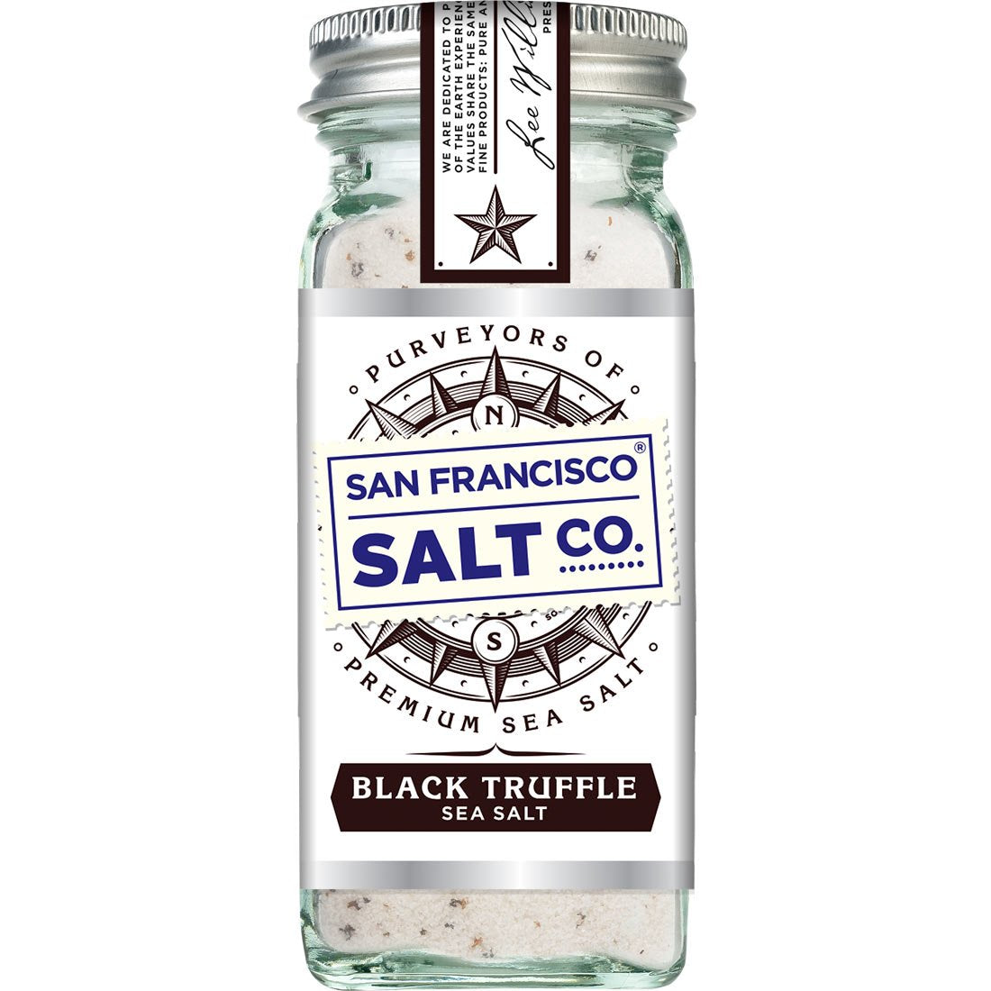 Black Truffle Salt 4 oz. Glass Shaker - San Francisco Salt Company