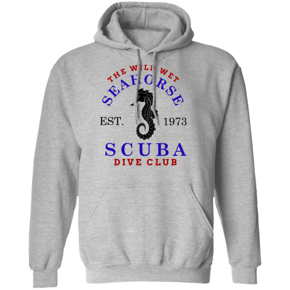 The Wild Wet Seahorse Scuba Diving Club Pullover Hoodie Sweat Shirt