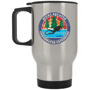 SCUBA SQUATCH UNDERWATER EXPLORERS STAINLESS STEEL TRAVEL MUG