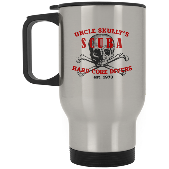UNCLE SKULLY'S SCUBA DIVING STAINLESS STEEL TRAVEL MUG