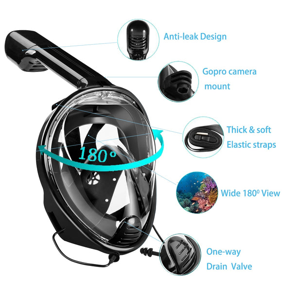 Full Face Swimming Mask View Anti-fog Snorkel Scuba Diving Masks Underwater Equipment Snorkeling For GoPro Compatible