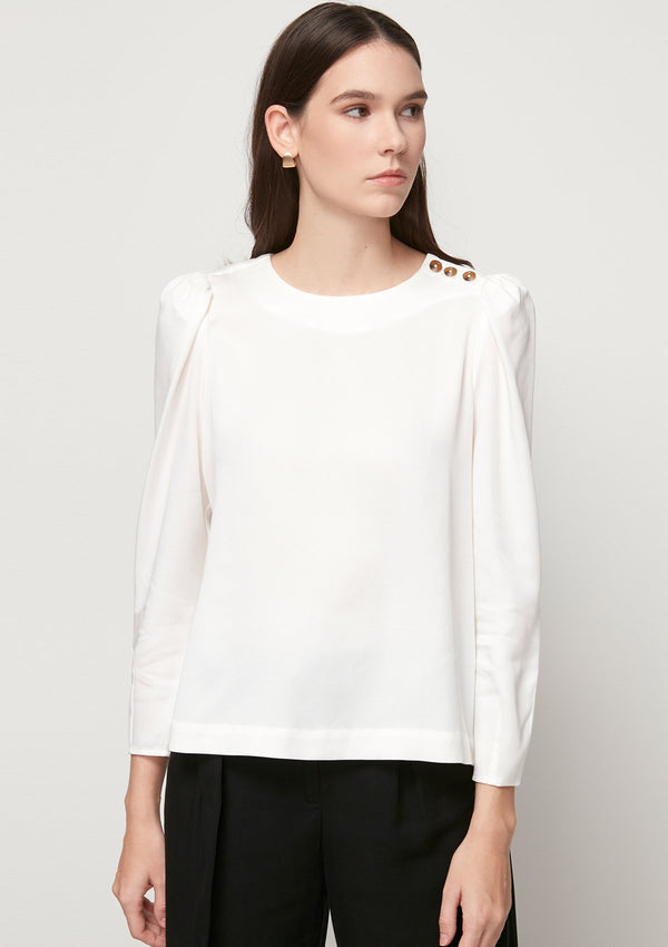 WHITE BLOUSE WITH SHOULDER BUTTON DETAIL