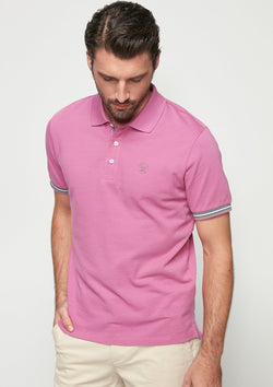 PIQUE POLO WITH CONTRAST PLACKET