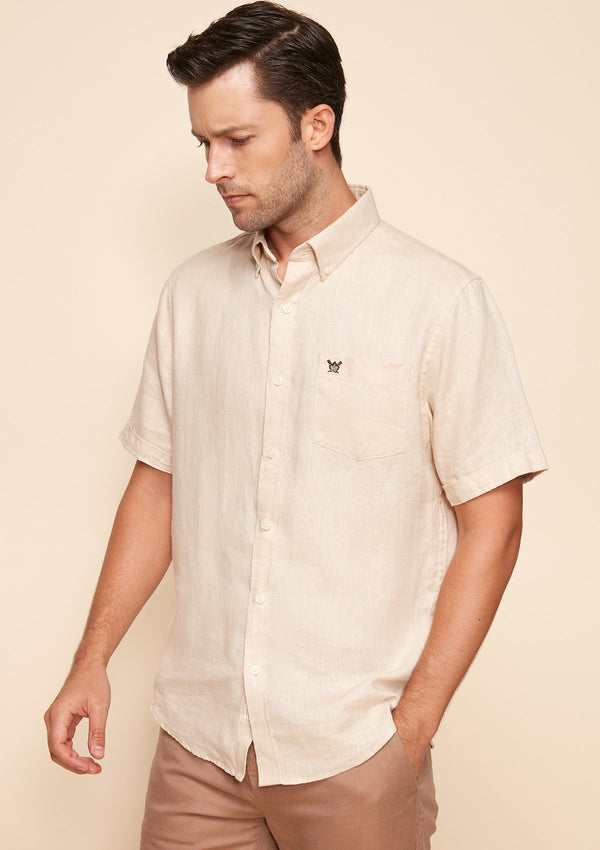 COTTON LINEN SHORT SLEEVES SHIRT