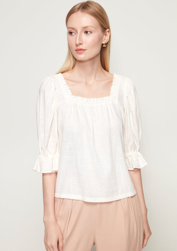 RUFFLE SQUARE NECK BLOUSE