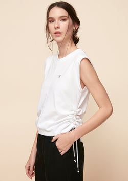 SLEEVELESS TEE WITH DRAWSTRING DETAIL