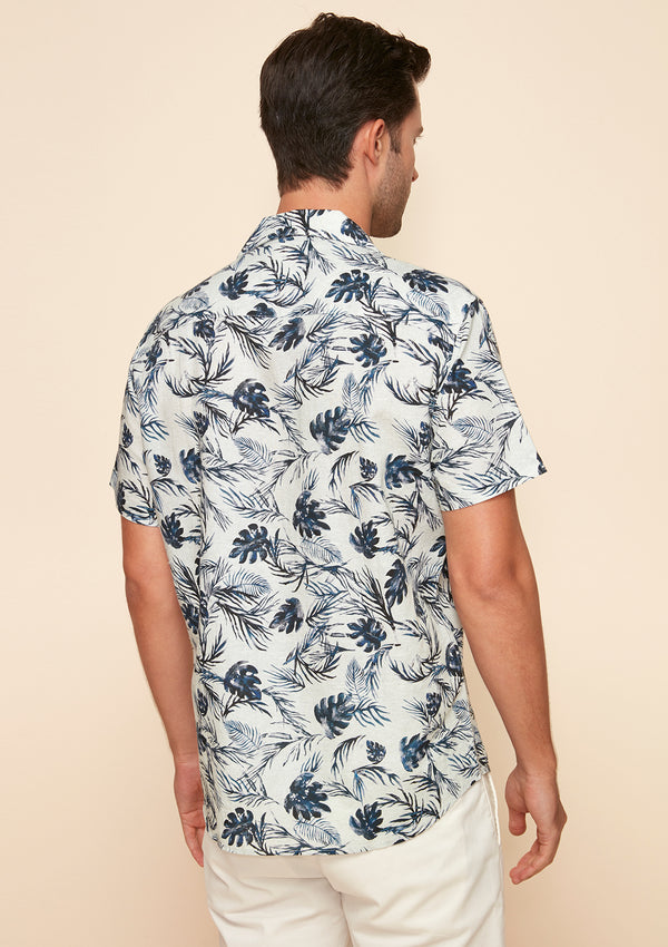 SUMMER PRINTED COTTON LINEN SHIRT