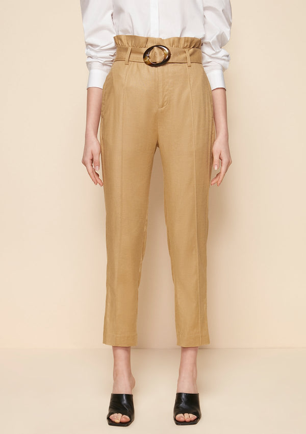 PAPERBAG WAIST TAPERED PANTS WITH BELT