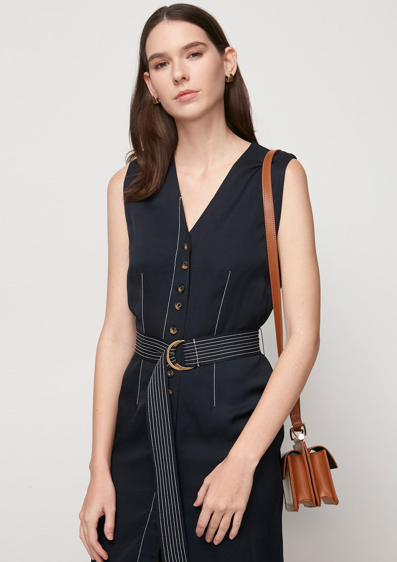 BUTTON DOWN MIDI DRESS WITH BELT