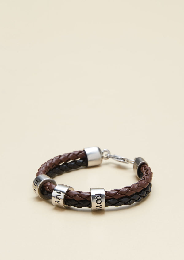 TWO-STRAND BRAIDED LEATHER BRACELET