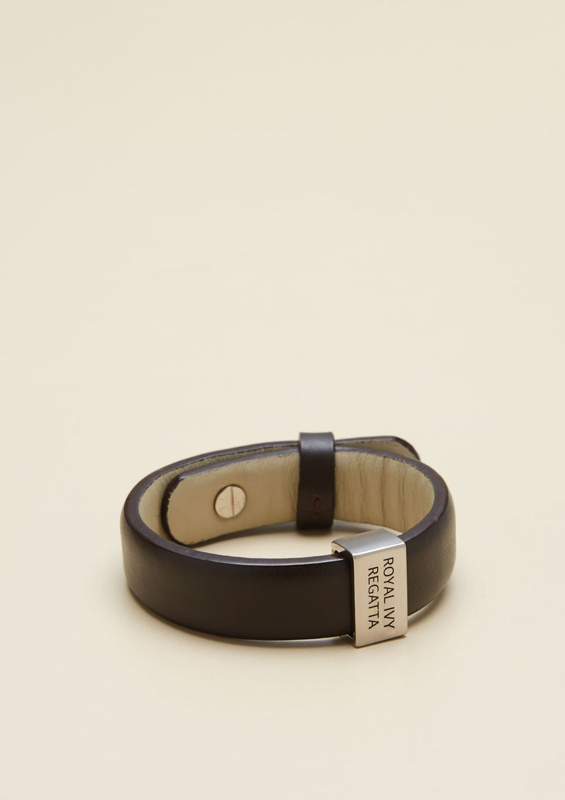 LEATHER BRACELET WITH METAL LOGO