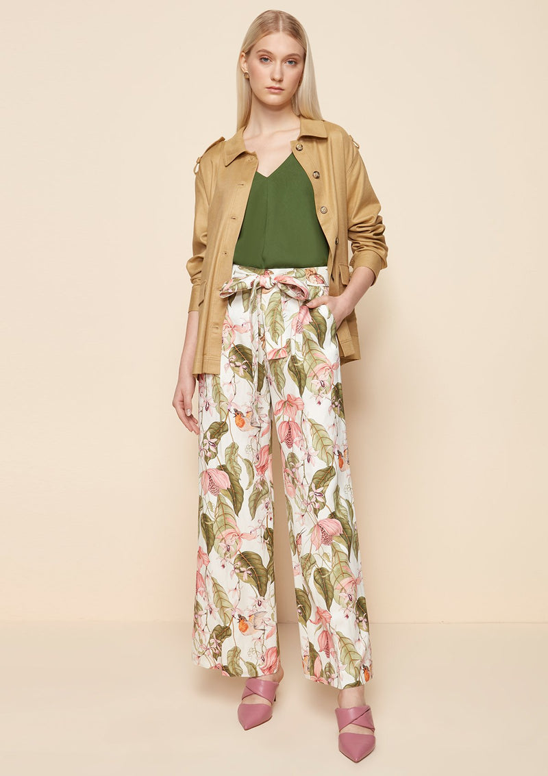 TIE-WAIST PRINTED WIDE LEG PANTS
