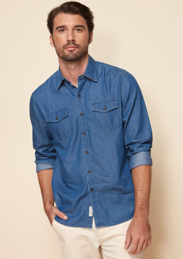 BUTTON DOWN COLLAR DUO POCKETS SHIRT IN DENIM STYLE