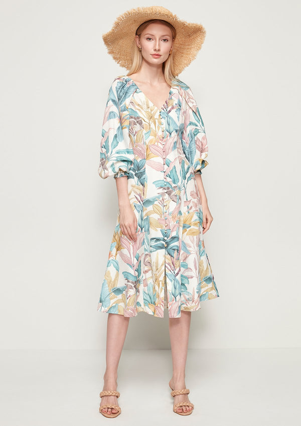 RUFFLE-SLEEVED FLORAL PRINTED DRESS
